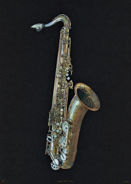 Steve Barker drawing of tenor saxophone